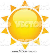 Vector Clipart of a 3d Yellow and Orange Sun with Spiked Rays by TA Images