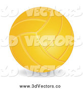 Vector Clipart of a 3d Yellow Volleyball and Shadow by MilsiArt