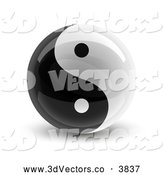 Vector Clipart of a 3d Yin Yang Symbol with Drop-Shadow by Oligo