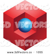 Vector Clipart of a Abstract 3dBlue Sphere and Red Cube Logo Icon by Cidepix