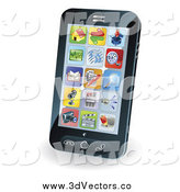 Vector Clipart of a App Icons on a 3d Smart Phone Screen by AtStockIllustration