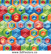Vector Clipart of a Background of 3d Colorful Geometric Shapes by Cidepix