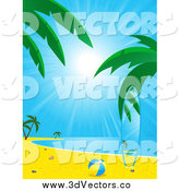 August 1st, 2014: Vector Clipart of a Beach Ball and Surfboard Matching the Tropical Beach Backdrop by Elaineitalia
