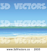 Vector Clipart of a Beautiful Ocean Landscape with White Sand by AtStockIllustration