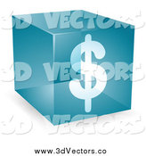 Vector Clipart of a Blue 3d Dollar Symbol Cube by Kheng Guan Toh