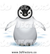 Vector Clipart of a Cute 3d Baby Emperor Penguin with Snow by Oligo