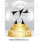 Vector Clipart of a Dollar Man Winner on a 3d Gold First Place Podium by Andrei Marincas