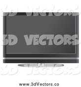 Vector Clipart of a Flat Screen Tv Set by Mheld