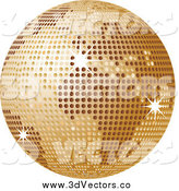 Vector Clipart of a Golden Disco Ball Globe by Elaineitalia