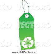 Vector Clipart of a Green and White Blank Recycle Tag by Tonis Pan