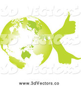 Vector Clipart of a Green Earth Globe with Thumb up Hands by Andrei Marincas
