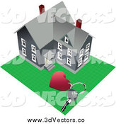 April 3rd, 2014: Vector Clipart of a Heart Keychain and Key by a Large Home by Leonid