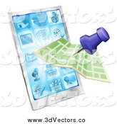 Vector Clipart of a Map and Pin over a Smart Phone by AtStockIllustration