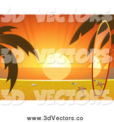 Vector Clipart of a Matching Surf Board on a Sunset Tropical Beach by Elaineitalia