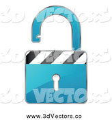 Vector Clipart of a Open 3d Blue Padlock by Beboy