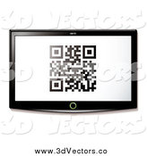 Vector Clipart of a Qr Code on a 3d TV Screen by Michaeltravers