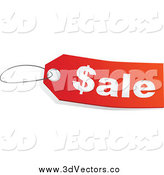 Vector Clipart of a Red and White Sale Store Tag with a Dollar Symbol As the S by Tonis Pan