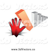Vector Clipart of a Red Hand Stopping a Falling 3d Bar Graph by Andrei Marincas