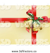 Vector Clipart of a Red Ribbon with Holly and Christmas Bells on Gold Wrapping Paper by AtStockIllustration