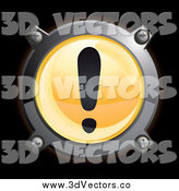 Vector Clipart of a Round Chrome and Orange Exclamation Point Icon on Black by Frog974