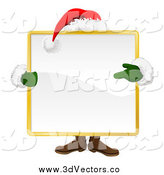 July 11th, 2014: Vector Clipart of a Santa Behind a Large Square Sign by AtStockIllustration