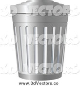 Vector Clipart of a Silver Metal Trash Bin by Vector Tradition SM