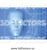 Vector Clipart of a Virtual Face over a Blue Screen by AtStockIllustration