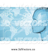 Vector Clipart of a Virtual Face over an Atlas Map with Connections by AtStockIllustration