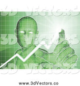Vector Clipart of a Virtual Man Pushing Buttons on a Green Interfaceation by AtStockIllustration