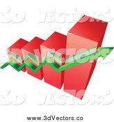 Vector Clipart of an Aerial View of a 3d Red Bar Graph and Green Arrow by Vector Tradition SM