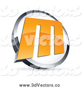 Vector Clipart of an Orange Letter M in a Circle by Beboy