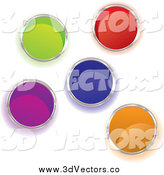 Vector Clipart of Colorful Paint Buckets from Above by Michaeltravers