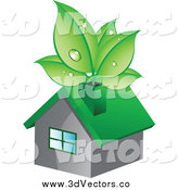Vector Clipart of Dewy Green Leaves in a Chimney of a House by Vectorace