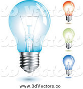 Vector Clipart of Four Colorful Transparent Light Bulbs by Anja Kaiser