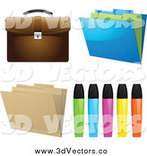 February 26th, 2014: Vector Clipart of Highlighters, Folders and a Briefcase by Elaineitalia