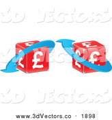 Vector Clipart of Red Lira Cubes with Blue Arrows by Andrei Marincas