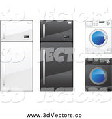 Vector Clipart of Refrigerators and Washing Machines by Vector Tradition SM