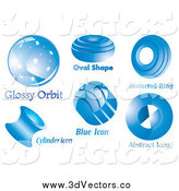Vector Clipart of Six Blue Logos by MilsiArt