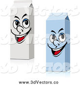 Vector Clipart of Two Milk Carton Characters by Vector Tradition SM