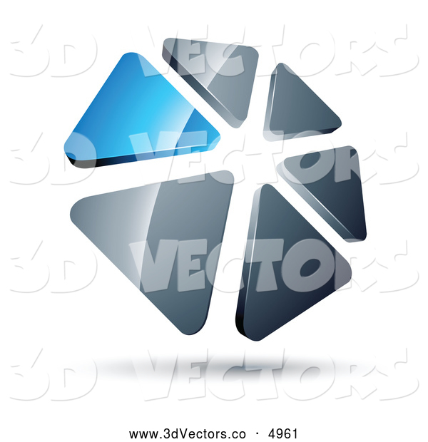 3d Vector Clipart of a 3d Circle of Blue and Silver Triangles