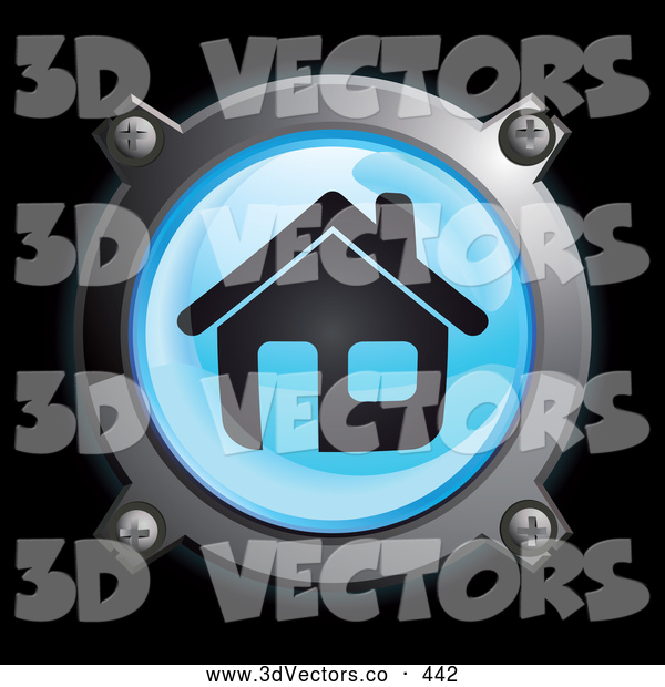 3d Vector Clipart of a 3d Shiny Blue House Button Icon