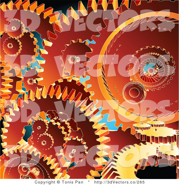 3d Vector Clipart of a Background of Orange Gear Cogs