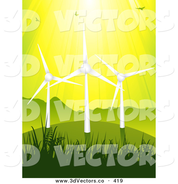 3d Vector Clipart of a Birds Flying in Sunshine Above Three Eco Energy Wind Turbines on a Green Grassy Hill, Against a Yellow Sky