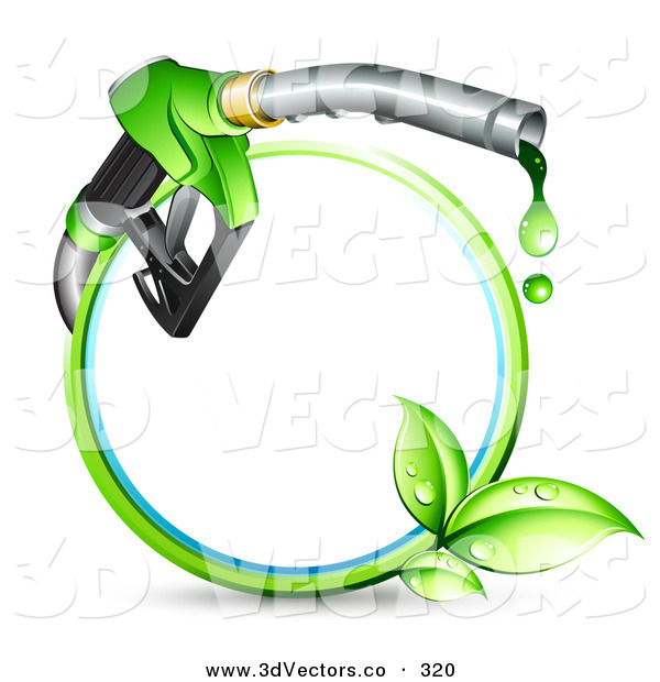 3d Vector Clipart of a Blue and Green Circle with Sprouting Leaves and a Gasoline Nozzle Dripping Green Fuel in a Green Ring