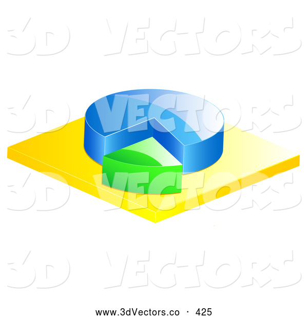 3d Vector Clipart of a Blue and Green Pie Chart on Yellow