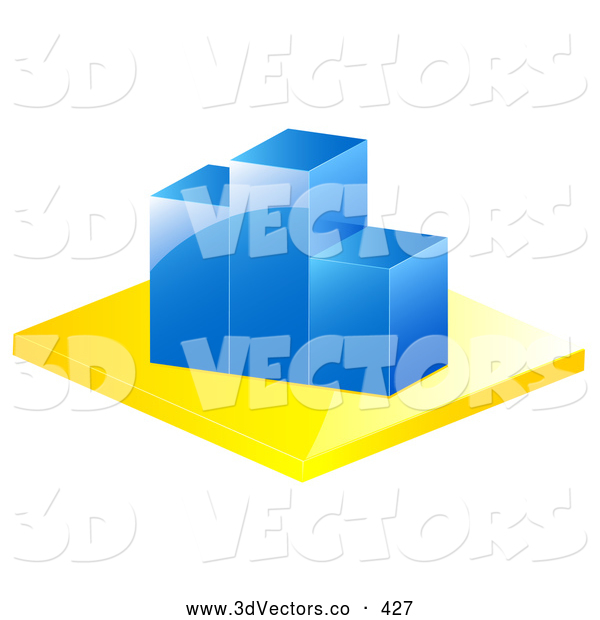 3d Vector Clipart of a Blue Bar Graph Depicting Loss and Decrease on White