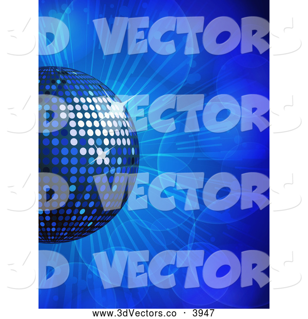 3d Vector Clipart of a Blue Disco Ball on Flares