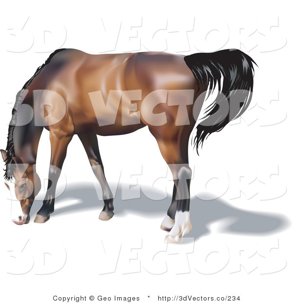 3d Vector Clipart of a Brown Horse Grazing