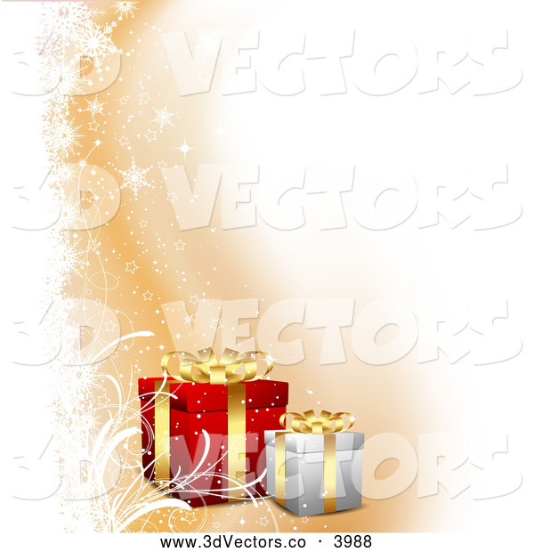 3d Vector Clipart of a Christmas Gifts with Orange and White