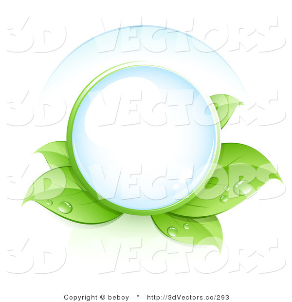 3d Vector Clipart of a Clear Glass Orb Nestled in Green Dew Covered Leaves